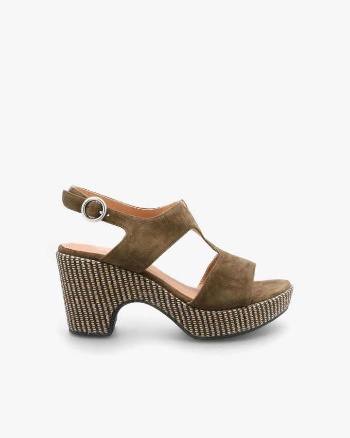 Sandale Semi-Compensée Cuir Velours Kaki