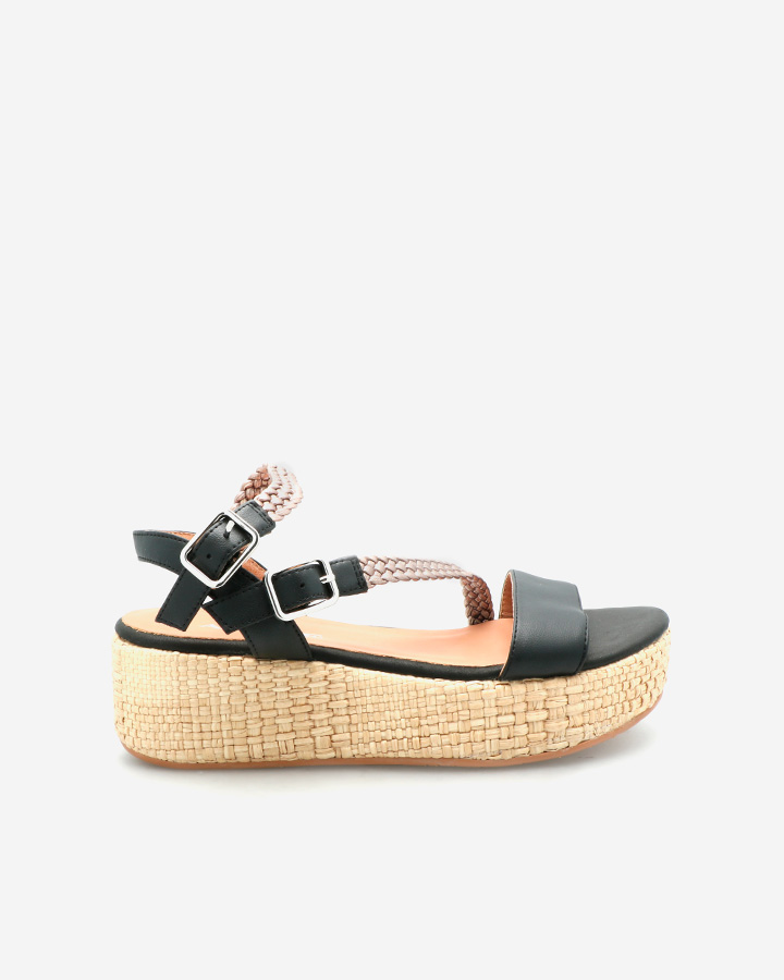 Sandale Compensée Chic Noire