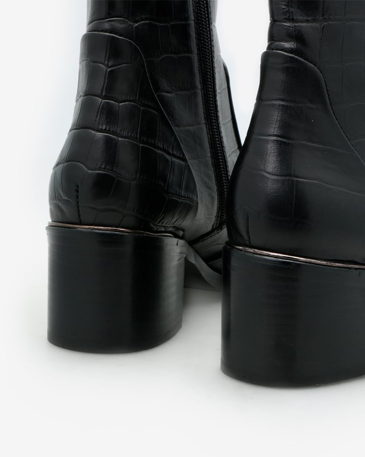 Bottine croco noir femme