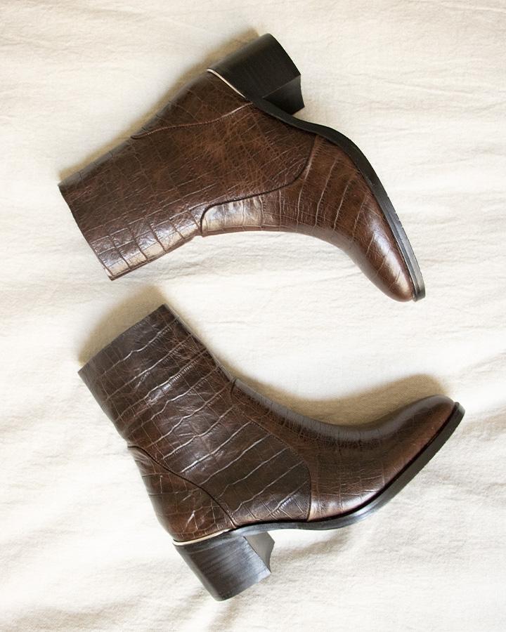 Bottine croco marron femme