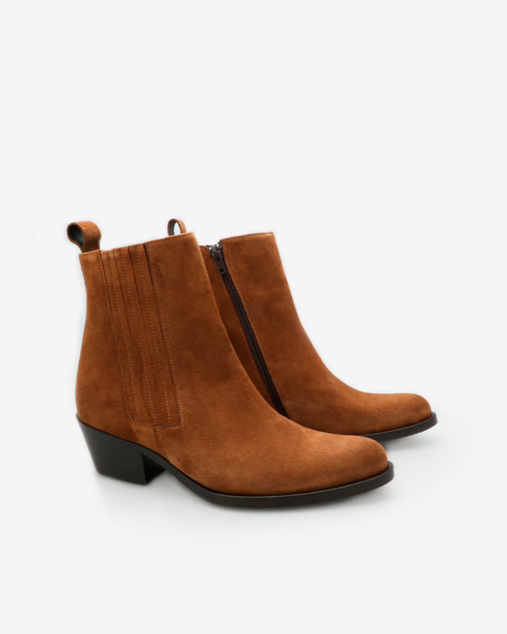 bottines western camel femme