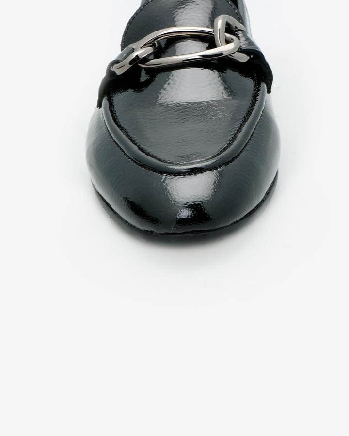 mocassin noir vernis femme