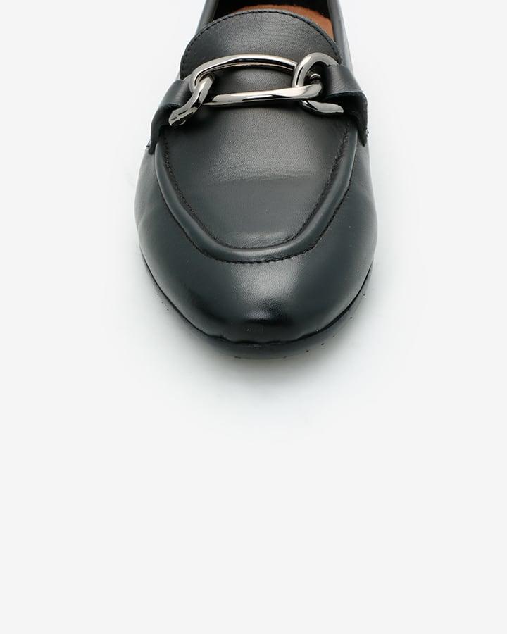 mocassin cuir noir femme