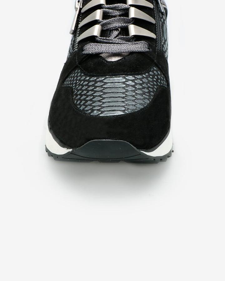 basket femme cuir noir