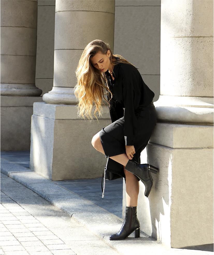 Boots Fara cuir noir élégantes