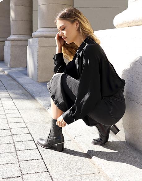 Bottines élégantes cuir noir