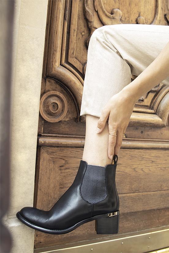 Boots Diva cuir noir chic